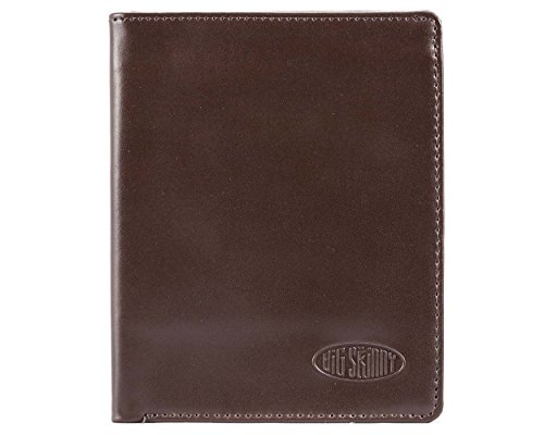 Big Skinny Men's Hipster Leather Bi-Fold Slim Wallet, Holds Up to 40 Cards, Brown ()