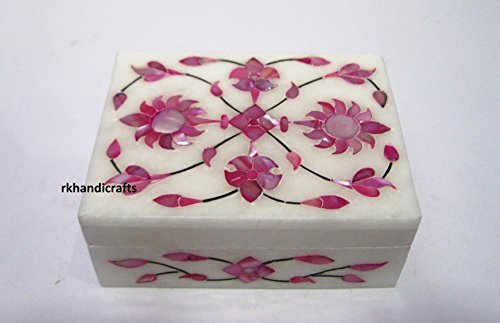 rkhandicrafts White Marble Jewelry Box Ring Box Multi Use Box Inlay Work with Semi Precious Stones Birthday Gift 4 x 3 Inches from rkhandicrafts