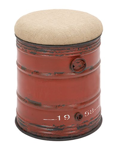 Deco 79 Metal Burlap Stool, 18 by 14-Inch