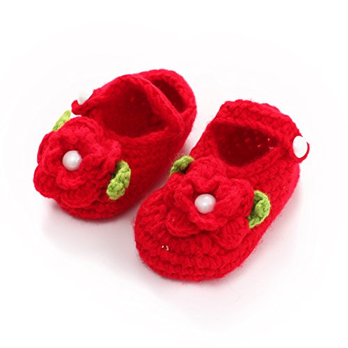 ACVIP Baby Unisex Winter Strick Babyschuhe mit Blumen und Perlen Rutschfeste Strickschuhe Lauflernschuhe (Rot) Rot