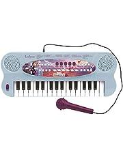Lexibook K703FZ_50 Frozen 2 Frost Elsa Anna Olaf Elektroniskt enhörningstangentbord, 32-knappars piano, sångmikrofon, 22 demo-lågar, batteridrift, blå/lila