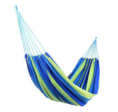 Wide Hammock Cotton Soft Woven Bed for Supreme Comfort Fabric Travel Camping Hammock 1 Person for Backyard, Porch, Outdoor or Indoor Use (Green & Blue Stripes) (blue(75*30))