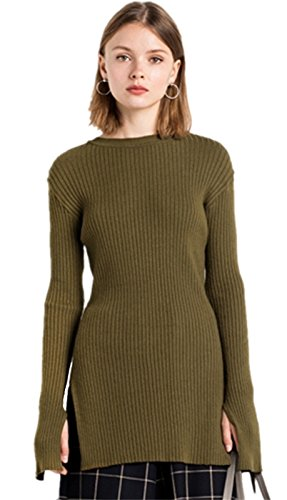 Ribbed Rib Stitch High Side Split Slit Longline Sweater Jumper Top Army Green XL