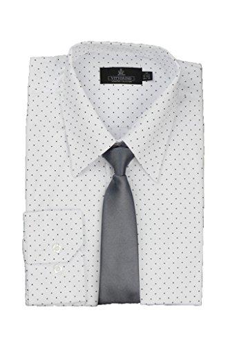 Purple Checkered Studs (Vittorino Men's Polka Dot Dress Shirt and Tie,White,L)