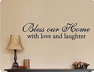 """46""""x12"""" Bless Our Home With Love And Laughter Wall Decal Sticker Art Mural Home DŽcor Quote"""