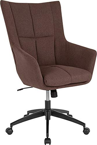 StarSun Depot Barcelona Home and Office Upholstered High Back Chair in Brown Fabric 27