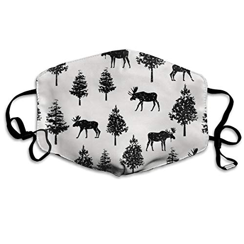 Moose Tree Art Pattern Anti-dust Mouth Mask Face Masks Mouth Cover for Man and Woman
