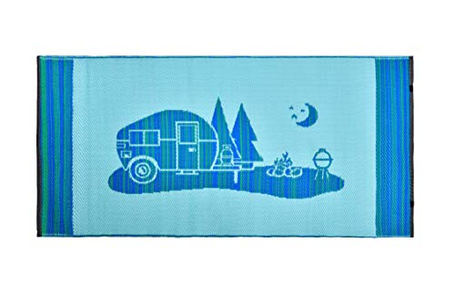 Snowbird Light Reversible Mat- Happy Camping (9 ft. x 12 ft, Blue) by Snowbird Mats