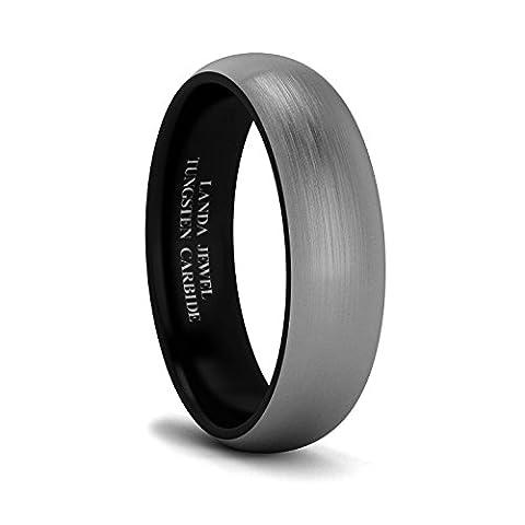 Unisex Tungsten Carbide 6mm Black Inside Brushed Wedding Ring Heavy Court Shape Comfort Fit (11) - Heavy Mens Wedding Band