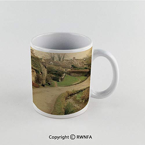 11oz Unique Present Mother Day Personalized Gifts Coffee Mug Tea Cup White Farm House Decor,British Town with Stone Houses Retro England Countryside Buildings Image,Grey Green Funny Ceramic Coffee Te