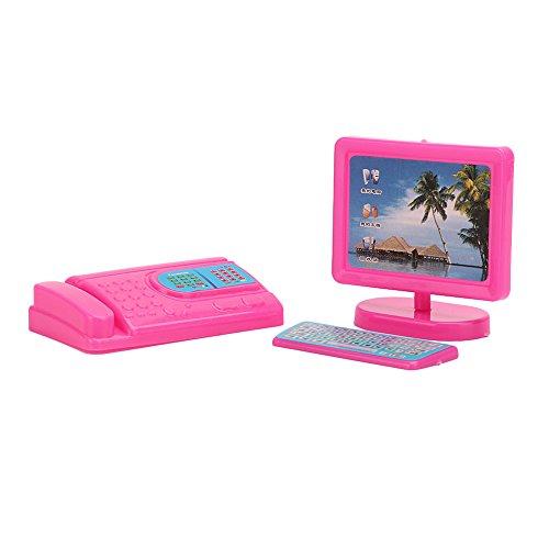 Amazon.es: Lecimo Equipo De Fax Rosado Miniatura del Ordenador del Teclado del Monitor Fijado para Barbie Dollhouse: Juguetes y juegos