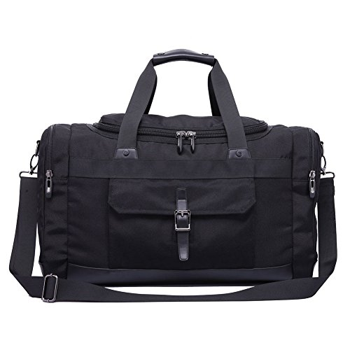 Domila Travel Duffel Bag Unisex Weekender Bag, TSA Friendly, Carry-on Luggage Tote Overnight Bag, 21'' L, Black