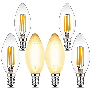 BRIMAX 4W Candelabra Led Bulbs Dimmable, 40 Watt Equivalent, E12 Base, 2700K Warm Glow, C35 B10/B11 Filament Led Candle Light Bulbs for Foyer Chandeliers, Celling Fans and Other Wall Fixtures, 6Pack