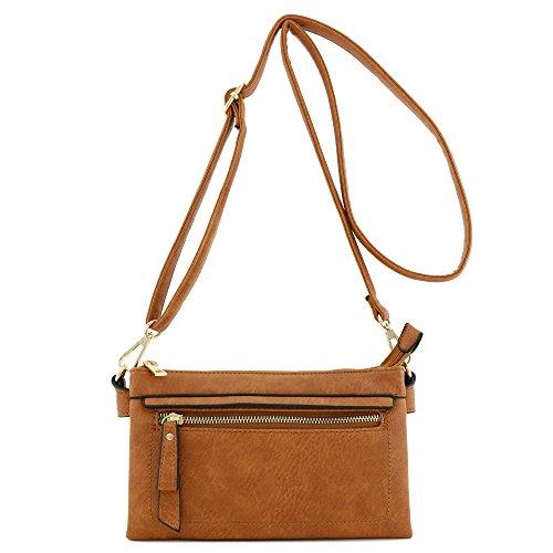 Multi Compartment Wristlet Clutch Crossbody Bag