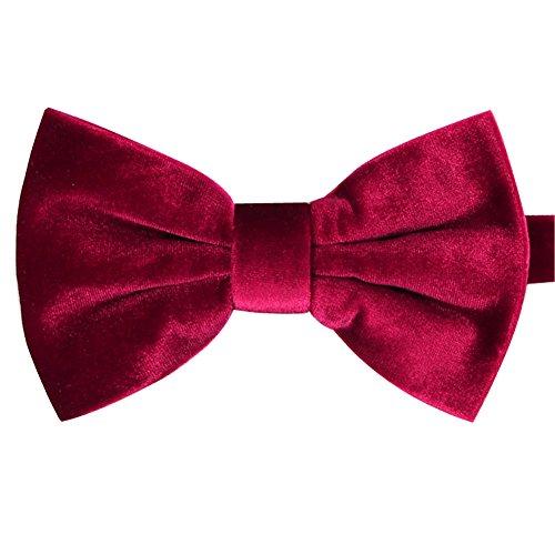 iHomor Men's Velvet Bow Tie Many Colors (Red)