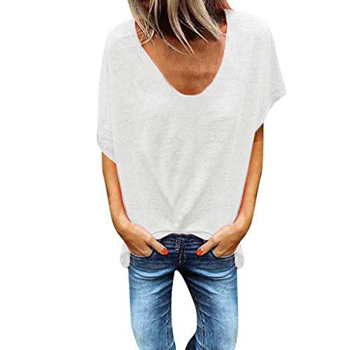 - Tantisy ♣↭♣ Woman Pure Color Top V-Neck Short Sleeves T-Shirt Lady Plus Size Tunics Shirt Blouses Tops/S-5XL White