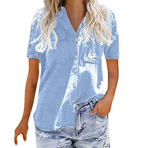 Sunhusing Women's Solid Color V-Neck Casual Button Buckle Short Sleeve Shirt Joker Office T-Shirt Blue ()