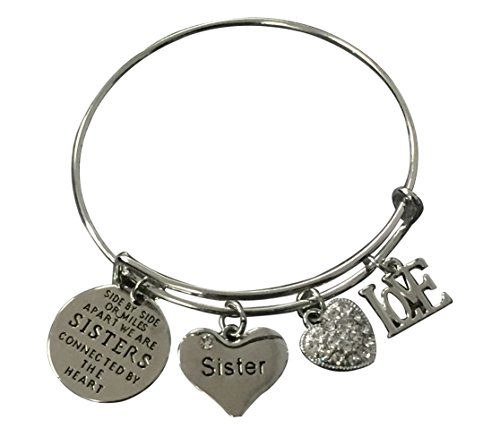 Infinity Collection Sister Charm Bangle Bracelet- Side by Side or Miles Apart, We are Sisters Connected by The Heart Jewelry, for Sisters
