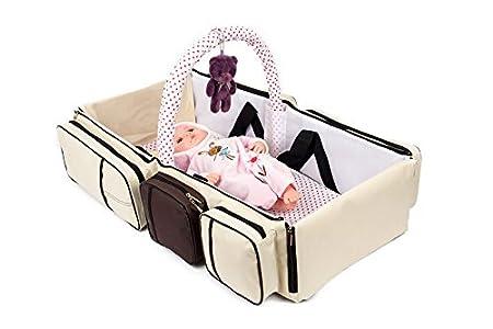 beige 2 in 1 Wickeltasche Pflegetasche Babytasche Reise Babybett Moskitonetz