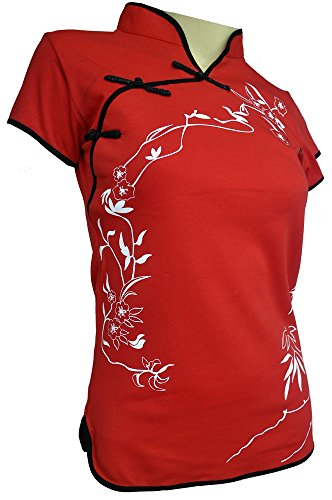 Amazing Grace Sexy Chinese Dress Top (X-Large, Hong Kong Spring Red)