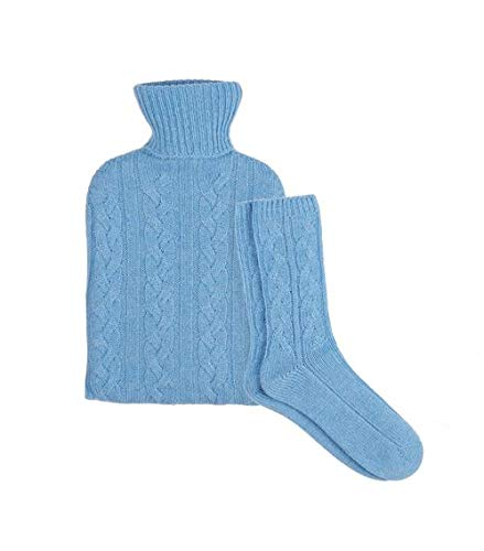 Harrods of London Cashmere Hot Water Bottle and Sock Set Blue 10-16 Years by Harrods of London