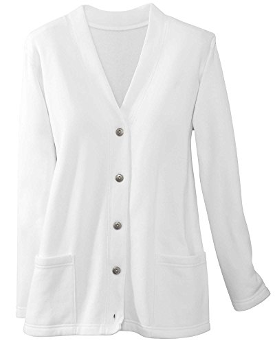 (National Lightweight Fleece Cardigan, White, Large)