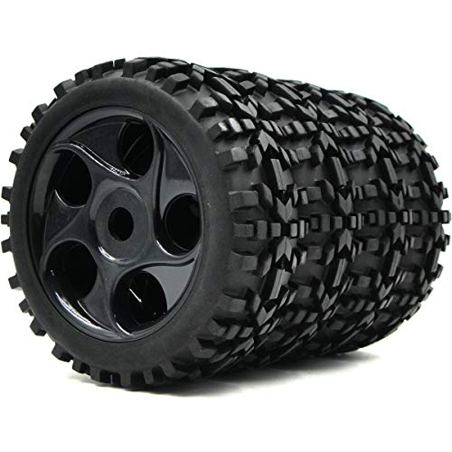 1/8 Off Buggy Road - 4pcs 1/8 RC Off Road Buggy Tires Badlands Tyres & Hex 17mm Wheels for Losi HPI XTR Car