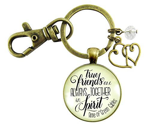 True Friends Are Always Together In Spirit Keychain Friendship Quote Womens Jewelry Gift Heart Charm (Anne Of Green Gables Best Friend)