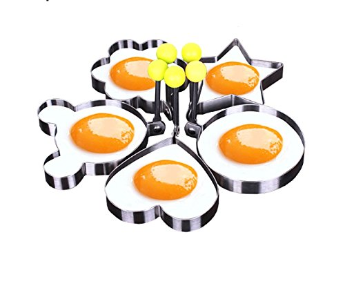 God's kitchen 5 pcs Non stick Ring Molds for Making Cakes, Pancakes, Meatloaf, Biscuits, Fried Egg Ecofriendly Stainless Steel Easy to Clean and Use 5 Different Shapes Great Kitchen (Shape Pancake)