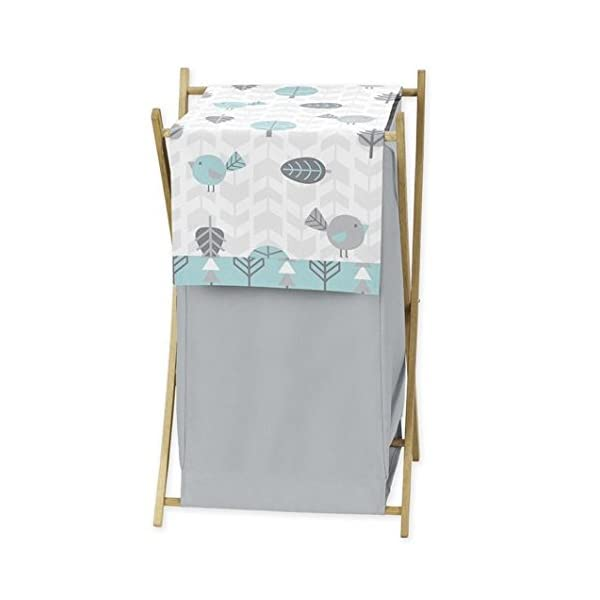 Sweet Jojo Designs Baby/Kids Clothes Laundry Hamper for Turquoise Blue and Gray Earth and Sky Nature Birds Bedding