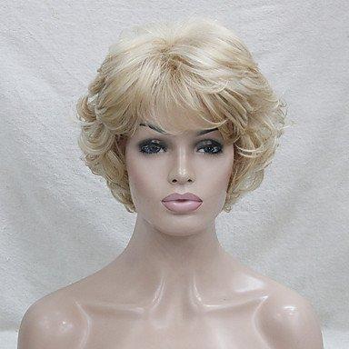 Hivision Peluca sintética para mujer, corta, rizada, rubia, natural, peluca de