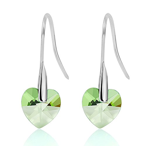 Gorgeous Jewelry Love Heart Lady Romantic Green Crystal Dangle Silver Plated Earring