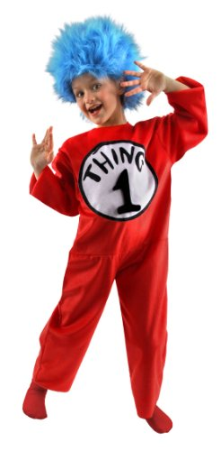 Dr. Seuss Thing 1 and 2 Kids Costume Jumpsuit and Wig (M 8-10)