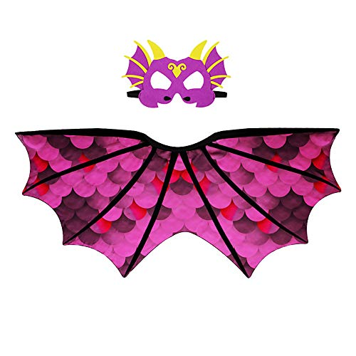 Dragon Wing Cape And Dinosaur Mask Parrot Dance Party Dress Halloween Costume For Kids ()