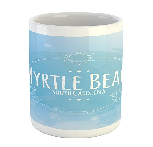 Lunarable Myrtle Beach Mug, South Carolina Beach Lettering with Sun Umbrella and Starfish Sketch, Printed Ceramic Coffee Mug Water Tea Drinks Cup, Blue Baby Blue White