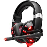 ONIKUMA Gaming Headset Xbox One Headset with 7.1 Surround Sound Stereo, PS4 Headset with Noise Canceling Mic & LED Light, Compatible with PC, PS4, Xbox One Controller(Adapter Needed), Nintendo Switch