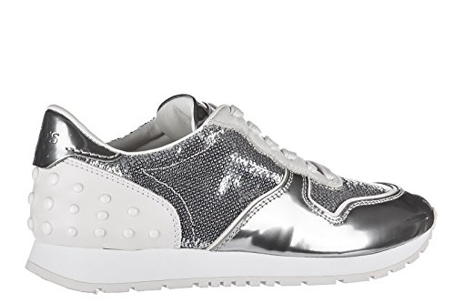 Tod's allacciata Women's Sneakers Trainers Shoes Leather Silver Sportivo vvnqr7