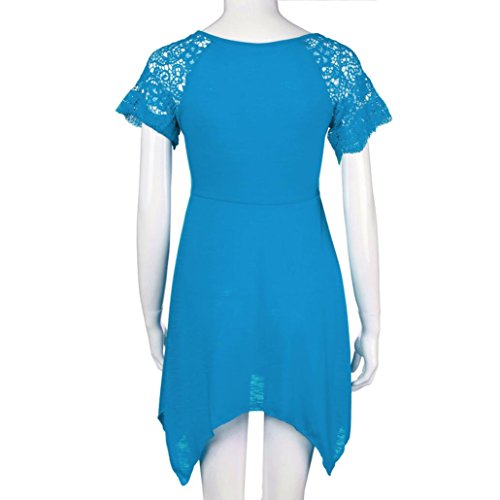 Ouneed Mujeres más tamaño irregular dobladillo manga corta camisa blusa de vestir Cielo azul