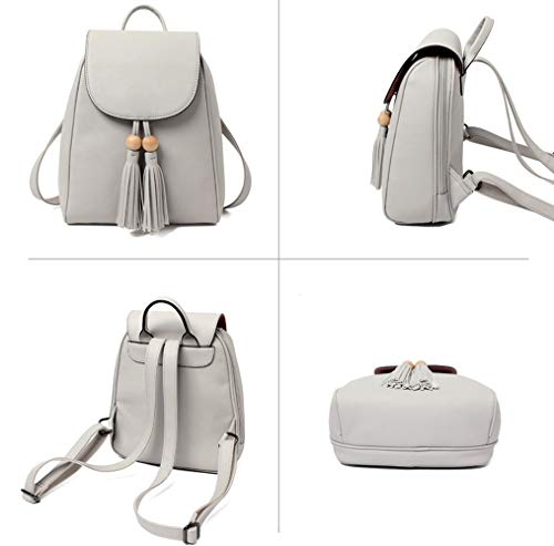 Leather Girls Women's For Grey Shoulder Pu Bag Bag Casual School Purse Backpack Ladies 4x5OqRax