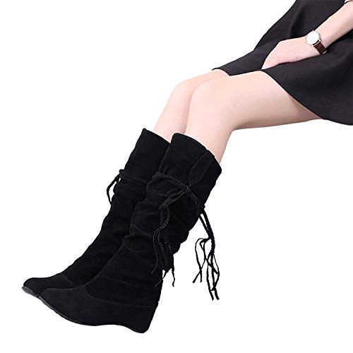 on Wedge Vuticly Black Calf Boots high Boots Slouchy Knee mid Flats Pull Womens Winter Shoes zrxwUqr