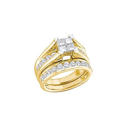 14kt Yellow Gold Womens Princess Diamond Bridal Wedding Engagement Ring Band Set 1.00 Cttw by JawaFashion