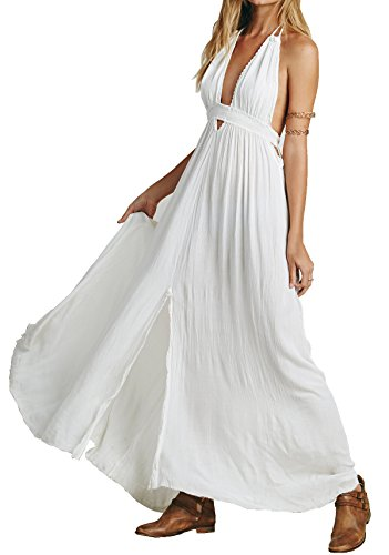 R.Vivimos Women Summer Deep V Neck Sexy Sleeveless Long Dress XL White