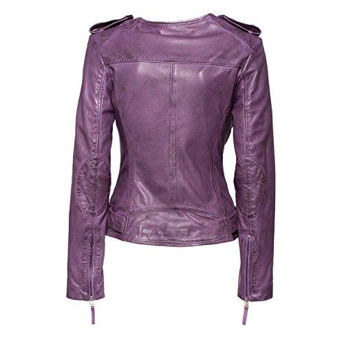 Veste style biker maraMahr «bordeaux» de style biker en cuir pour femme rose