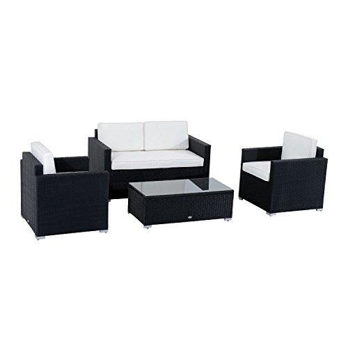 Rattan 4 PC Furniture Set Outdoor Patio Garden Sectional PE Wicker Cushion Sofa (Paul Frankl Rattan)