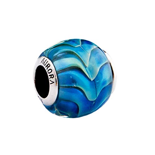 Blue Ocean Wave Murano Glass & Sterling Silver Charm Bead S925, Teal Turquoise Blue Sea Charm Bead pendant, fits (Sterling Silver Turquoise Accent)