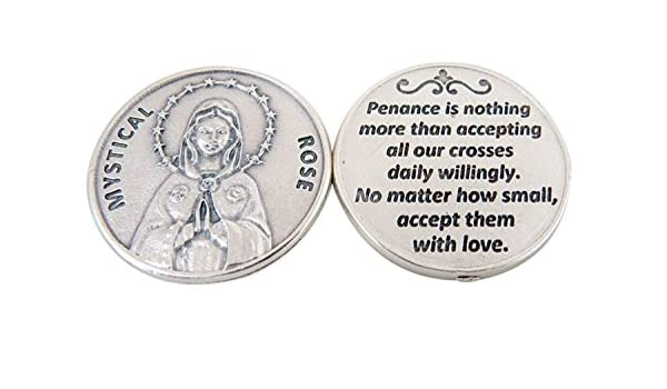 MARY OUR LADY OF LOURDES IN WALLET LARGE POCKET PRAYER COIN MEDAL TOKEN