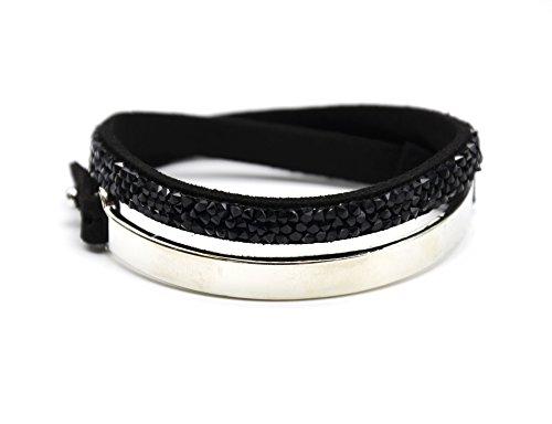 BC1707F - Bracelet Double Tour Bande Métal Argenté et Feutrine Clous Brillants Noir
