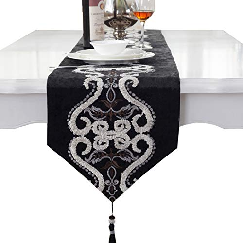 - Black pattern flock velvet embroidered tassel home decorative party gift table runner 80 inch approx