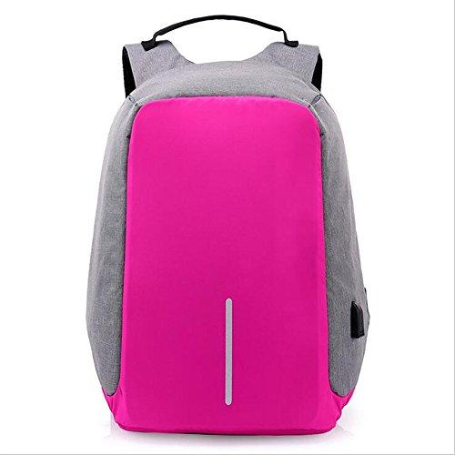 Unisexs Travel Bag Backpack Polyester Outdoor Backpack (Rose red) - 3