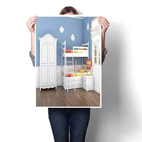 Canvas Wall Art Large Romantic Oil Painting Children s Bedroom in Blue Walls with bunk Bed and Wardrobe Painting,32